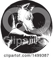 Clipart Of A Black And White Welding Wolf In A Circle In Woodcut Style Royalty Free Vector Illustration by patrimonio