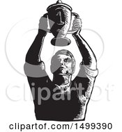 Sketched Worker Holding Up Championship Trophy Cup