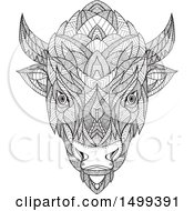 Clipart Of A Zentangle Black And White American Bison Head In Mandala Style Royalty Free Vector Illustration