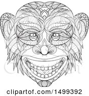 Clipart Of A Zentangle Black And White Chimpanzee Head In Mandala Style Royalty Free Vector Illustration