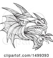 Clipart Of A Zentangle Black And White Dragon Head Royalty Free Vector Illustration