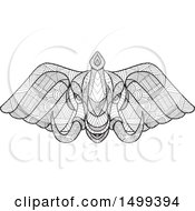 Clipart Of A Zentangle Black And White Elephant Head Royalty Free Vector Illustration