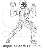 Clipart Of A Zentangle Black And White American Football Player Throwing Royalty Free Vector Illustration