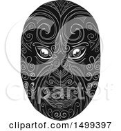Clipart Of A Black And White Maori Mask Royalty Free Vector Illustration