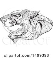 Clipart Of A Black And White Zentangle Styled Roaring Panther Head Royalty Free Vector Illustration