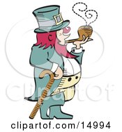 Short Pink Haired Leprechaun Leaning On A Cane And Smoking A Pipe Clipart Illustration by Andy Nortnik
