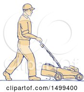 Poster, Art Print Of Male Landscaper Pushing A Lawnmower