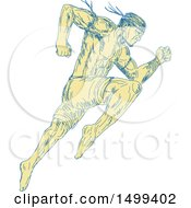 Sketched Muay Thai Fighter Jumping And Kicking