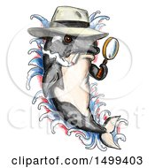 Clipart Of A Killer Whale Orca Detective Holding A Magnifying Glass On A White Background Royalty Free Illustration by patrimonio