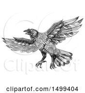 Clipart Of A Flying Raven Or Crow Bird On A White Background Royalty Free Illustration