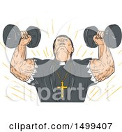 Sketched Muscular Priest Lifting Dumbbells
