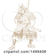 Clipart Of A Sketched Samurai Warrior Holding A Katana Sword Royalty Free Vector Illustration by patrimonio