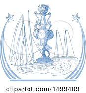 Poster, Art Print Of Sketched Yachts Racing By A Trophy Cup In A Shooting Star Frame