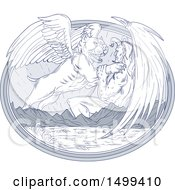 Clipart Of A Sketched Winged Bulldog Angel Fighting A Devil Over Mountains And Sea Royalty Free Vector Illustration by patrimonio