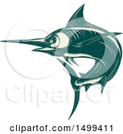 Clipart Of A Swimming Marlin Fish In Scratchboard Style Royalty Free Vector Illustration