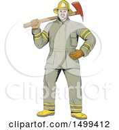 Fireman Holding An Axe Over His Shoulder