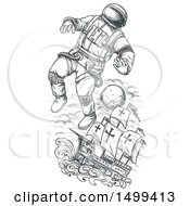 Clipart Of A Sketched Astronaut Tethered To A Ship On A White Background Royalty Free Illustration by patrimonio