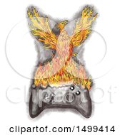 Clipart Of A Sketched Rising Flaming Phoenix On A Video Game Controller On A White Background Royalty Free Illustration by patrimonio