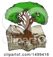 Clipart Of A Sketch Styled Oak Tree With Roots Growing Over An Open Book On A White Background Royalty Free Illustration