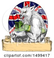 Poster, Art Print Of Sketched Grey Wolf Holding A Bomb Over A Union Jack Flag On A White Background