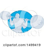 Sketched Bodybuilder Powerlifting A Barbell In A Blue Oval