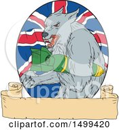 Sketched Grey Wolf Holding A Bomb Over A Union Jack Flag And Banner