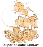 Clipart Of A Sketched Caravel Sailing Ship And Moon Royalty Free Vector Illustration