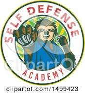 Clipart Of A Karate Sloth Mascot Punching In A Self Defense Academy Circle Royalty Free Vector Illustration by patrimonio