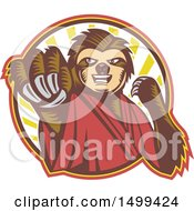 Clipart Of A Karate Sloth Mascot Punching Royalty Free Vector Illustration by patrimonio
