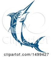 Clipart Of A Jumping Blue Marlin Fish Royalty Free Vector Illustration