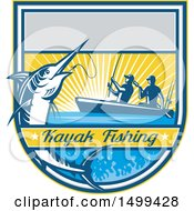 Jumping Marlin Fish Being Reeled In By Two Men Tandem Fishing With Text