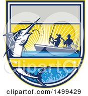 Clipart Of A Jumping Marlin Fish Being Reeled In By Two Men Tandem Fishing From A Boat Royalty Free Vector Illustration by patrimonio