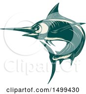 Clipart Of A Scratchboard Style Jumping Marlin Fish Royalty Free Vector Illustration