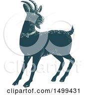 Clipart Of A Goat Wearing A Bow Tie Royalty Free Vector Illustration by patrimonio
