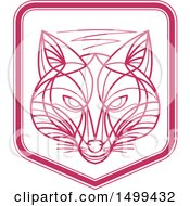 Clipart Of A Pink And White Fox Face Shield Royalty Free Vector Illustration