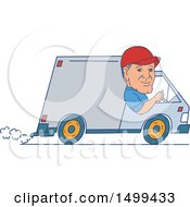 Clipart Of A Male Delivery Driver In A Van Royalty Free Vector Illustration