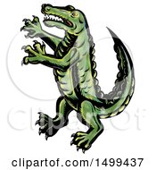 Clipart Of A Rampant Crocodile Or Alligator On A White Background Royalty Free Illustration by patrimonio