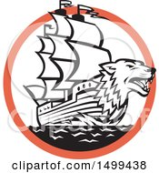 Clipart Of A Sea Wolf Galleon Ship In A Black White And Orange Circle Royalty Free Vector Illustration