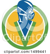 Clipart Of A Fumigator Pest Control Specialist Wearing A Mask In A Circle Royalty Free Vector Illustration by patrimonio