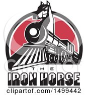 Poster, Art Print Of Iron Horse Headed Train In A Red White And Blue Half Circle With Text