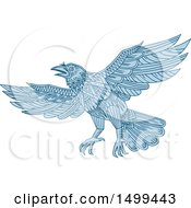 Clipart Of A Blue Flying Raven In Mandala Style Royalty Free Vector Illustration