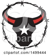 Clipart Of A Texas Longhorn Bull Head With A Star In A Barbed Wire Frame Royalty Free Vector Illustration