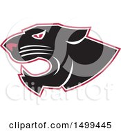 Clipart Of A Roaring Black Panther Head With A White And Red Outline Royalty Free Vector Illustration by patrimonio