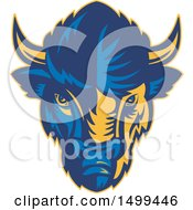 Clipart Of A Blue And Yellow American Bison Buffalo Head Royalty Free Vector Illustration by patrimonio
