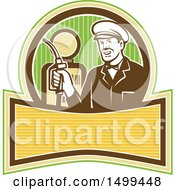 Clipart Of A Retro Gas Station Attendant Holding A Nozzle Over A Pump Royalty Free Vector Illustration