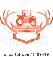 Poster, Art Print Of Farmer Operating A Tractor Over Mounted White Tail Deer Antlers