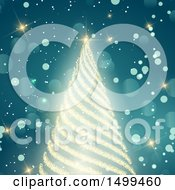 Clipart Of A Bright Gold Glitter Christmas Tree On Blue Flares Royalty Free Vector Illustration by KJ Pargeter