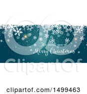 Clipart Of A We Wish You A Merry Christmas Design With Snowflakes On Blue Royalty Free Vector Illustration