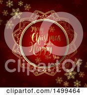 Clipart Of A Merry Christmas And A Happy New Year Design In Gold And Red Royalty Free Vector Illustration