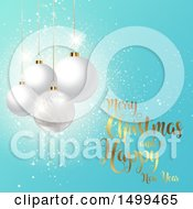 Clipart Of A Merry Christmas And A Happy New Year Design With Baubles On Blue Royalty Free Vector Illustration by KJ Pargeter